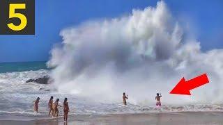 Top 5 SCARY Beach Waves - Run!