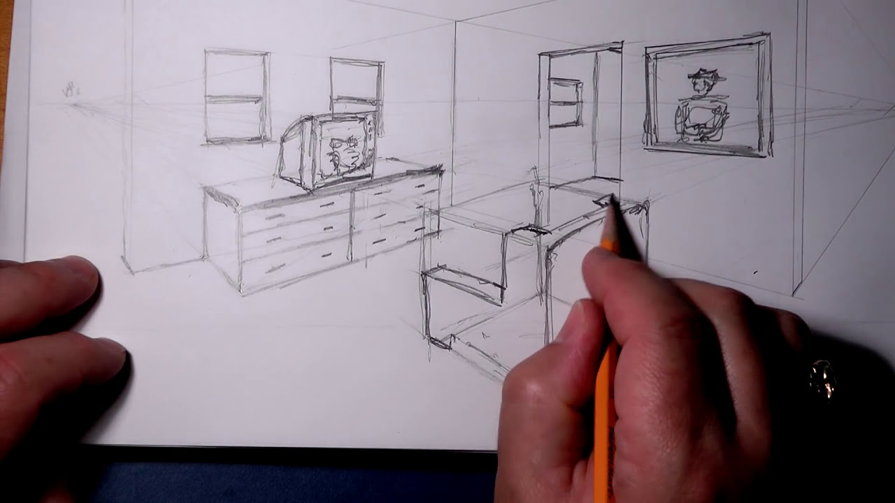 2 pt perspective wireframe room youtube for Bedroom 2 point perspective