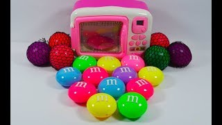 Learn colors by squishy mesh ball m&m's slime and microwave