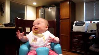 Baby eating peas, hilarious