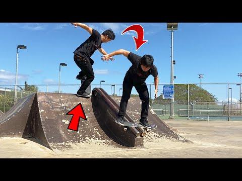 QUARTERPIPE TO RAIL COMBO TRICK - Skating Ewa Beach Skatepark