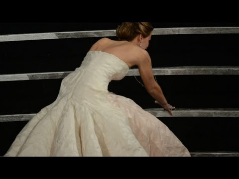 Jennifer Lawrence talks about her Oscar fall