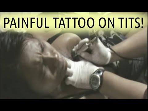 Painful Tattoo on Tits (1/2) * Breasts boobs Filipina bar girl tattooed I