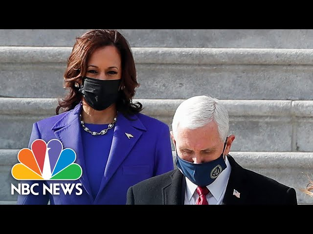 Vice President Kamala Harris Waves Goodbye To Mike Pence After Escorting Him From Capitol  NBC News