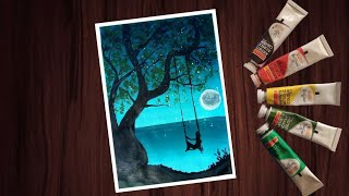 How to paint with Acrylic Colours || How to paint moonlight scenery with Acrylic Paint step by step
