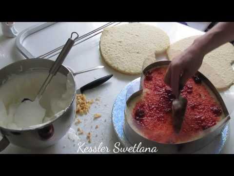Оформление торта сердце с пломбирным кремом и кремом БЗК.