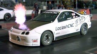 Flame Spitting Turbo Integra Outruns V8's!
