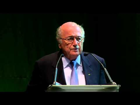 Blatter talks at CONMEBOL with FIFA rivals Luis Figo and Prince Ali in attendance