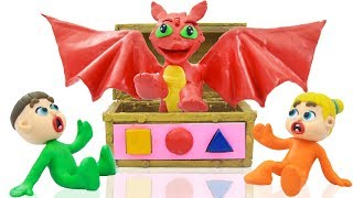 BABY DRAGON LEARNS COLORS AND SHAPES 💖 Play Doh Stop Motion Cartoons