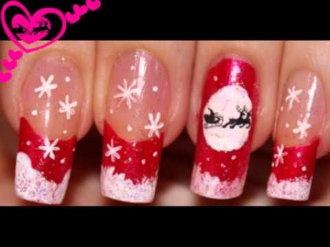 Christmas.Santa Silhouette.Nail art design.