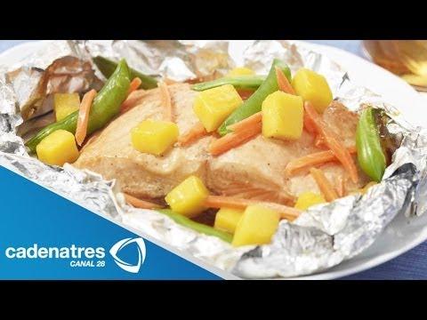Receta de Pescado al Vapor con Verduras / Comida para bajar de peso