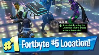 Fortnite Fortbyte #5 Location - Accessible by using the Laid Back Shuffle emote inside a Dance Club