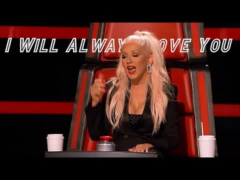 "Christina Aguilera singing ""I Will Always Love You"" on The Voice"