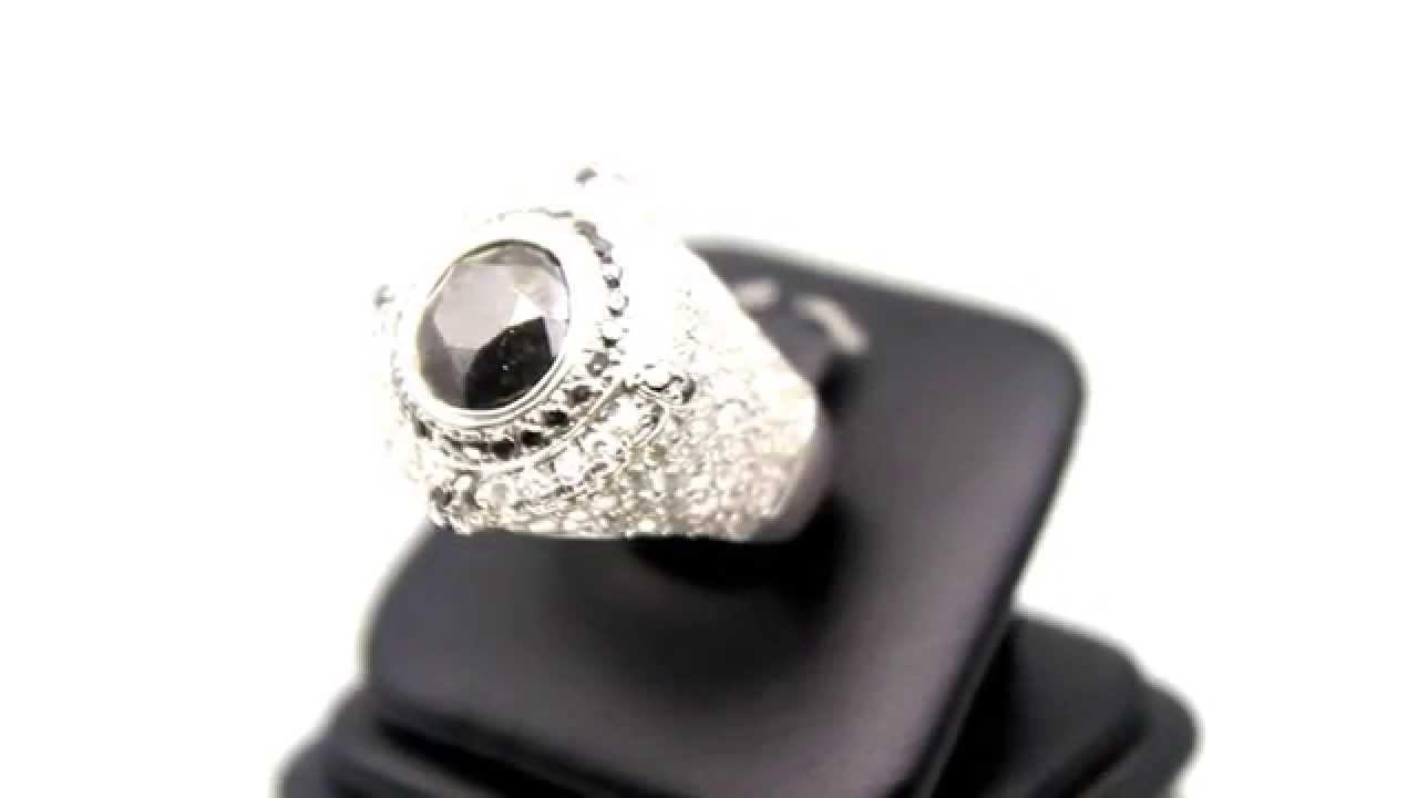 Men s 14K Solid White Gold Diamond Pinky Ring with Black Diamonds 5 50 Ct