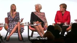 Ivanka Trump booed for praising her father at women's summit