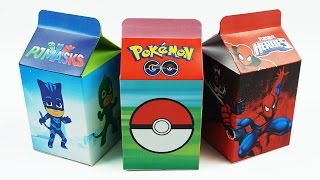 Learn Numbers 1 to 10 with Milk Carton Surprise Toys, Pokemon Go, Pj Masks, Spiderman