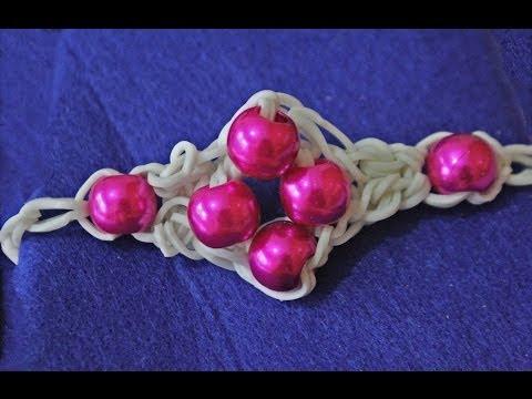 Cómo hacer pulsera de gomitas y perlas sin telar