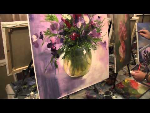 Видео рисовать маслом цветы