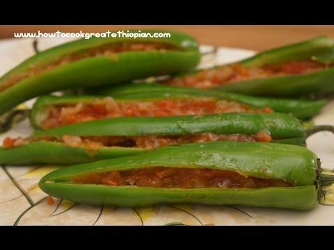 Ethiopian Food - Sinig recipe vegan long Peppers with Onion & Tomato Amharic English