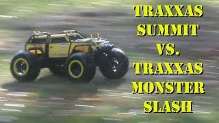 Traxxas Summit vs. Traxxas Monster Slash - AFTER THE RAIN - Water and Slow Motion - Darconizer RC