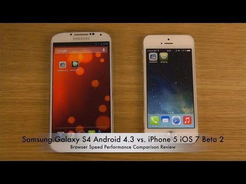 Samsung Galaxy S4 Android 4.3 vs. iPhone 5 iOS 7 Beta 2 - Browser Speed Performance Comparison Revie