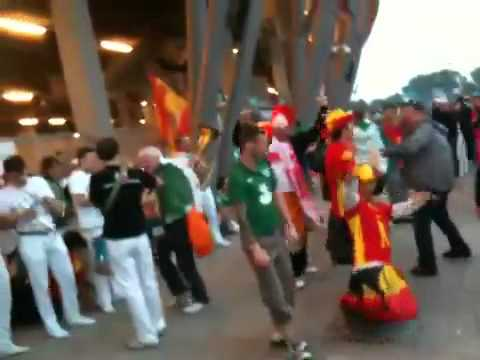 Ireland v Spain. Irish fans gdansking outside stadium