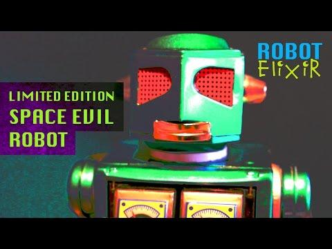 Space Evil Robot - Rare metallic green tinrobot from Metal House Japan. Tinplate robot toy