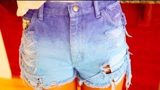 как сделать рваные, шипованные, омбре джинсовые шорты