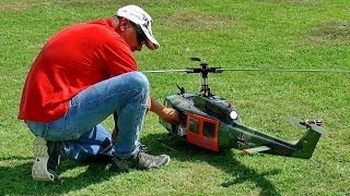 BELL-UH1D ELECTRIC RC SCALE MODEL HELICOPTER FLIGHT DEMONSTRATION