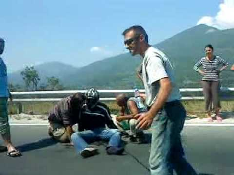 Motorcycle accident in Macedonia on road Gostivar - Mavrovo.