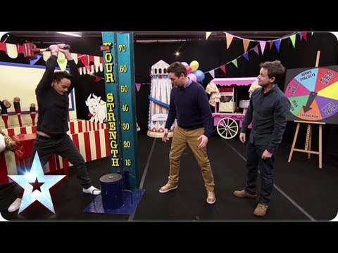 Ant vs Dec Who is stronger? fairground fantasy strongman game | Britain's Got More Talent 2013