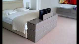 play youtube video night tv lit design en cuir avec int gration tv. Black Bedroom Furniture Sets. Home Design Ideas
