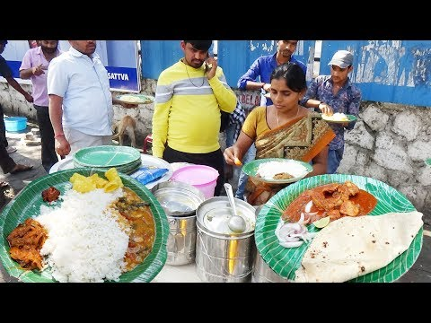 Delicious Roadside Meals Hyderabad | Non Veg Meals @ 60 rs / Veg Meals @ 50 rs | HyderabadStreetFood