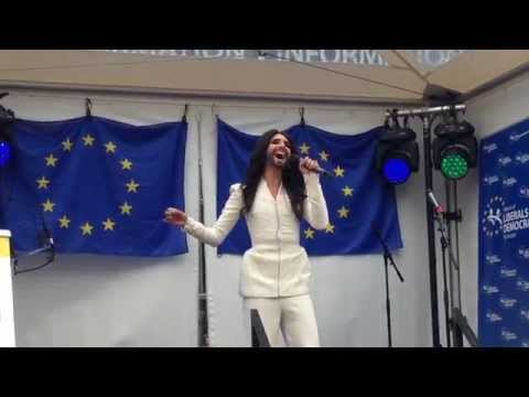 Conchita Wurst - Rise Like A Phoenix LIVE at the European Parliament,  Esplanade Brussels