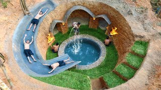 Building Water Slide Swimming Pool Around Secret Underground Village