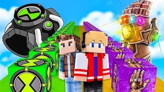 LUCK BLOCK OMNITRIX BEN 10 vs LUCK BLOCK MANOPLA DO INFINITO DO THANOS NO MINECRAFT !