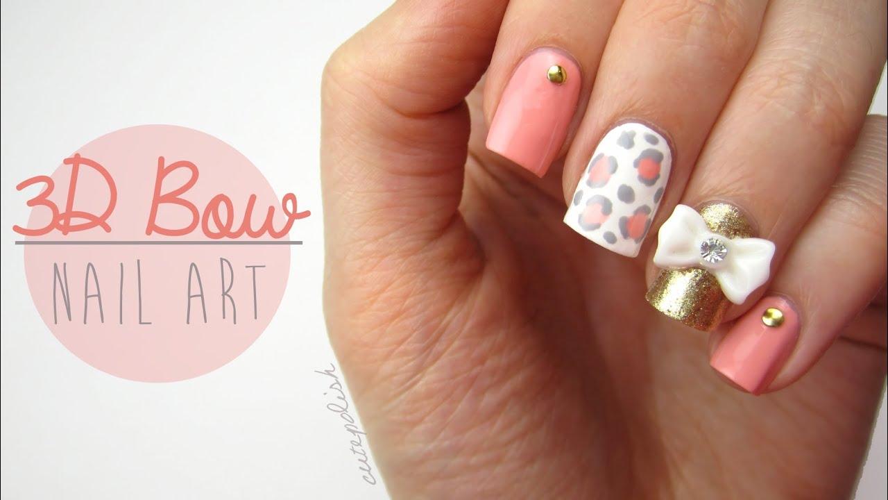 Cute 3d bow nail designs cute 3d bow nail art