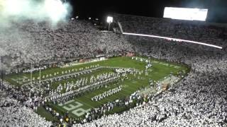 See Penn State Whiteout from above as team enters with a bang
