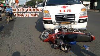 HY HỮU | Xe cứu thương vượt đèn đỏ tông xe máy khiến 2 người nhập viện