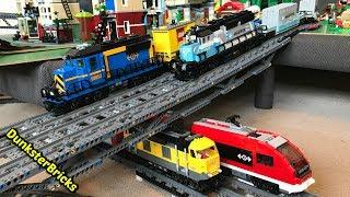 LEGO Train Track Setup #9! Passenger and Cargo Trains, and 5 MOC Bridges!