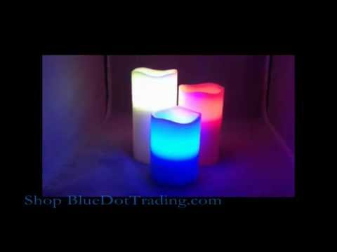 3 Piece Set LED Flameless Candles Multi-Color & Remote | BlueDotTrading