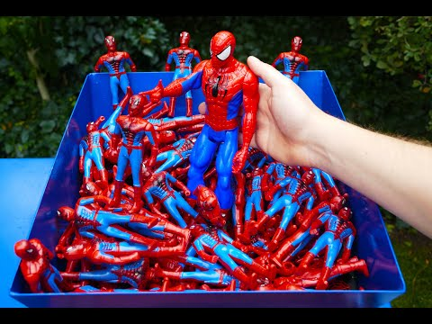 SHREDDING 100 SPIDERMAN TOY FIGURES!