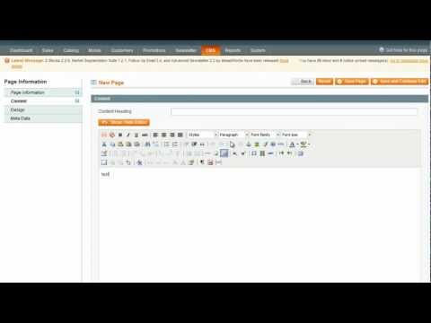 How to customise a CMS page in Magento - Magento Video Tutorials from Opace