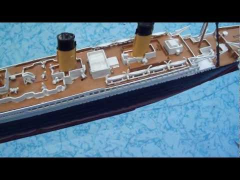 Titanic model floating in big pool
