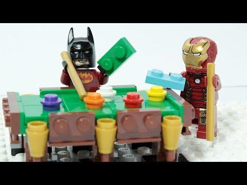 LEGO IRON MAN & BATMAN Brick Building Pool Table Superheroes Animation
