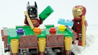 Lego Iron Man and Batman Playing Pool Brick Building Superheroes Animation for kids