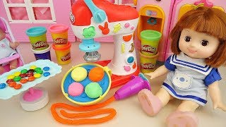 Baby doll and Play doh toys cooking play