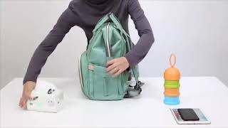 👶 Diaper Nappy Backpack With USB Phone Charger 💖 Large Capacity Baby Kids Toodler Milk Bottle Bag