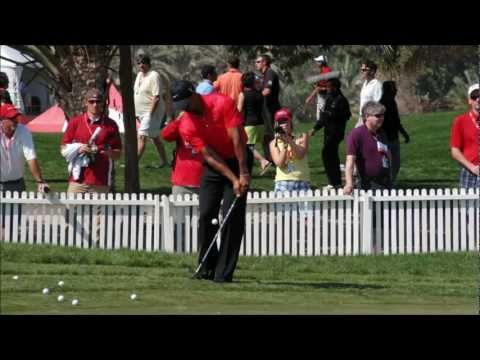 Tiger Woods practicing chipping at HSBC Tournament in super slow motion