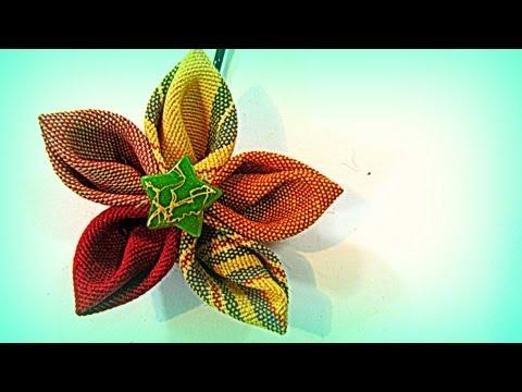Como hacer flores de tela para el cabello con p étalos en punta. Hair flowers.